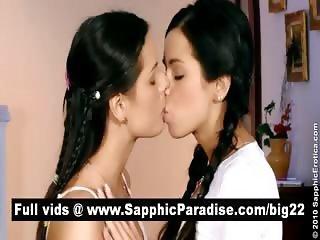 Adorable brunette schoolgirl lesbians kissing and having lesbian sex