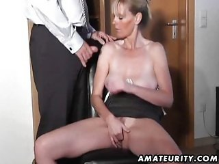 Naughty amateur Milf sucks and fucks with cum