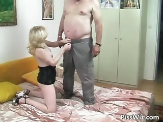 Fat dude fucks blonde MILF with banana part2