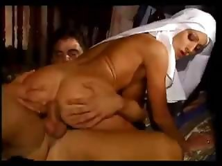 Naughty young Italian nun sucks his weak cock and gets drilled
