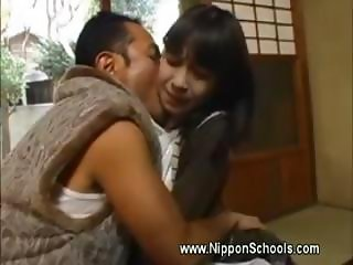 Japanese teen carest by older man