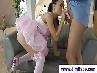 Sexy ballerina sucking off old man