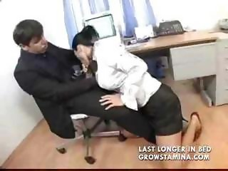 Eastern European secretary gives her boss a blowjob and a fuck