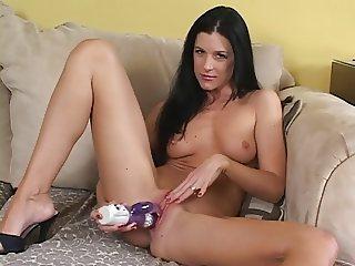 Teen brunette using her dildo