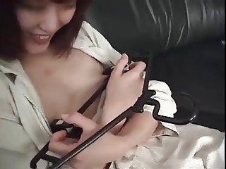 Small tit & pierced pussy Playing with hanger
