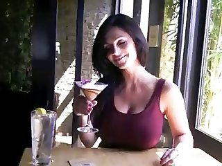 Denise Milani Fun in Restaurant - non nude