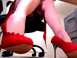 Office girl under the desk