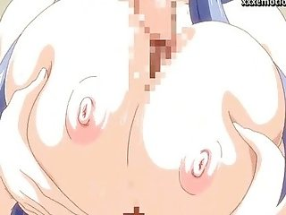Anime with huge tits rubbing a cock