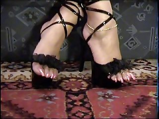 long toenails pink polish