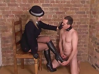 Posh British Mistress makes slave to relieve himself
