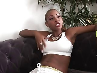 Horny Black Slut fucked by white fat cock
