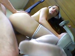 Hairy Cunt Nurse Lena Dirty White Stocking Feet Cummed On