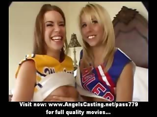 Stunning sexy blonde and redhead cheerleader girls doing tits massage