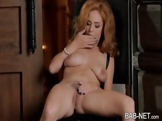 Hot babe squeezes boobs then masturbates