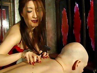 Testing her specimen