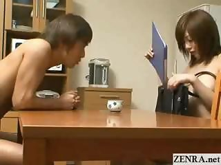 Nudist milf Japan saleswoman shyly goes door to door