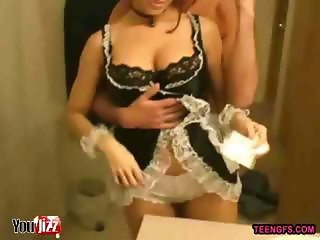 Sexy French Maid Amateur Bathroom Video