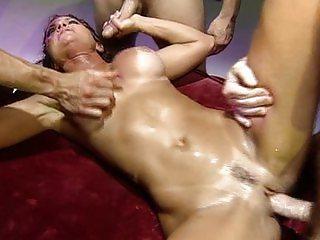 Big tits brunette gangbanged like an animal