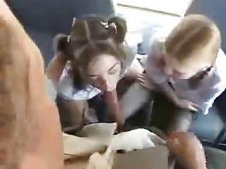 Schoolgirls Bus