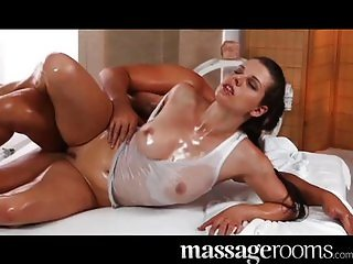Horny girl gets big boobs oiled