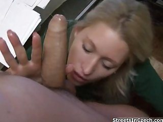 Gorgeous blonde is seduced by stranger,