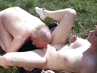 Old grandpa fucks young slut outdoor