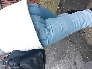 Walking Jeans MILF Ass close up slow motion