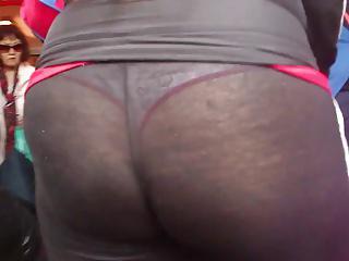 Latina MOM Walking Spandex White Thong - Must See