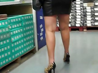 wife shopping Black Leather Mini Skirt, Leopard Heels