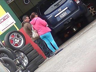 Latina Thick Pregnant Mom In Spandex