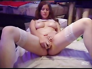 German fucks her pussy with dildo, cucumber and banana