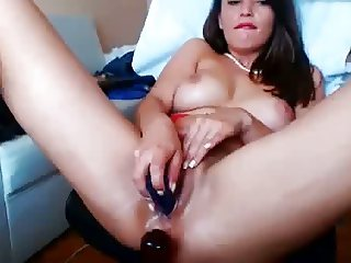 Girl stuffs pussy with panties - dildo and vibe pussy action