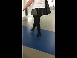 Walking in new latex skirt and heels