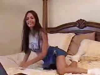 Brunette cheerleader masturbating...
