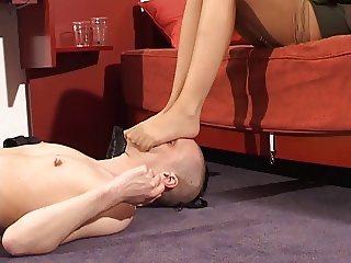 Sniffing on sweaty nylon stocking feet