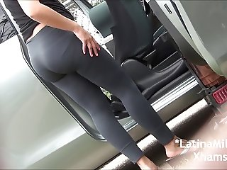 Dominican Slut Wife in Grey Spandex and Skirts