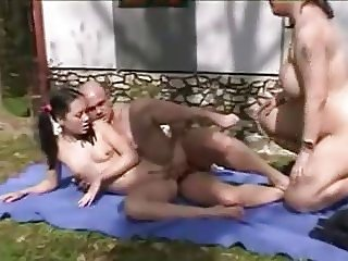 Outdoor - MFF Threesome - Pert Pigtail Teen
