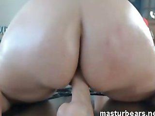 riding my dildo with ass towards camera
