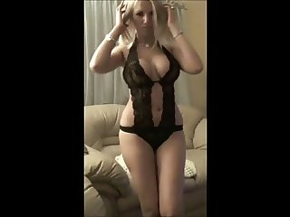 sexy blondie in lingerie dancing