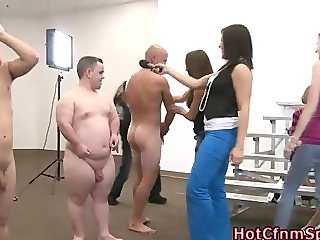 Clothed femdom babes humble guys
