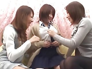 Japanese Lesbians (Cute girls lured into the kissing van)2