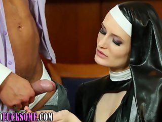 Glam latex nun gets cum and rubs