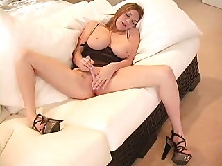 Girl with big tits and nice ass goes solo 4 times.