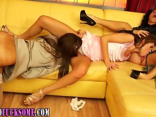 Clothed lesbian threesome toy
