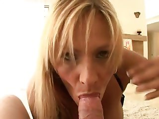 Debi Diamond sucks and eats cum pov