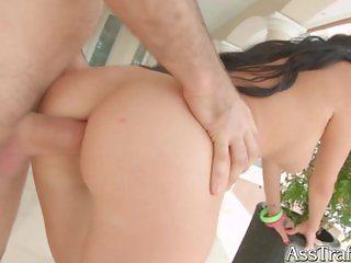 AssTraffic Ass fucked brunette gets cum load