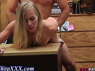 Amateur fucked over backroom desk