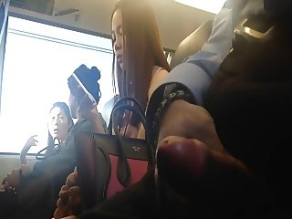Flash asian on train