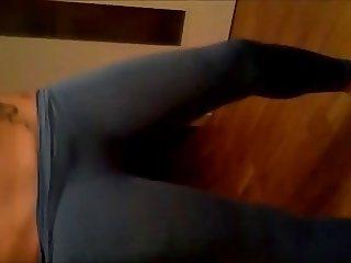 horny girl in yoga pants masturbation