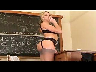 Teacher in nylons smoking